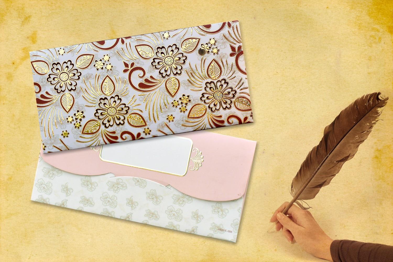 Beige Floral Shagun Envelope - Pack of 12(With Luxor Marker)